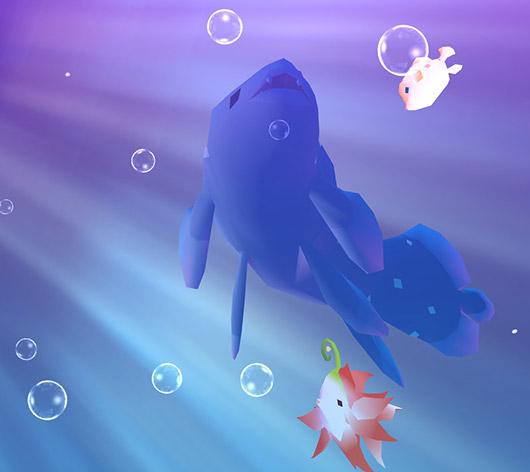 射し込む光と泡の中を優雅に泳ぐシーラカンス(アビスリウム - タップで育つ水族館)