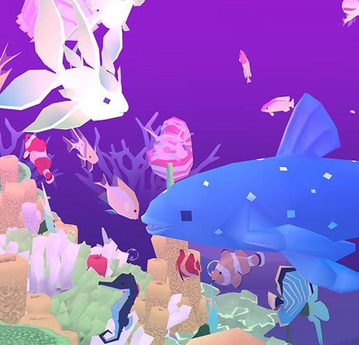 他の魚やサンゴと仲良くするシーラカンス(アビスリウム - タップで育つ水族館)