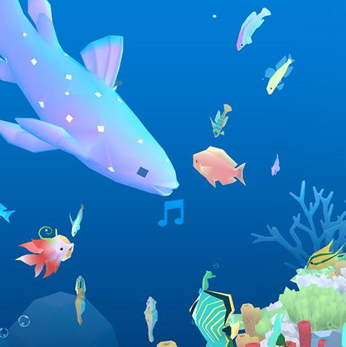 歌うシーラカンスと、それに集まる小魚たち(アビスリウム - タップで育つ水族館)