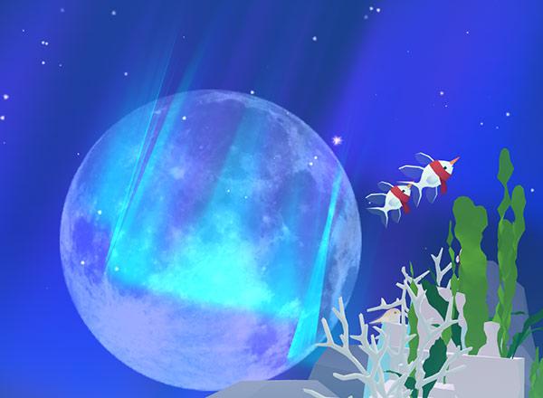 オーロラと月を背景に泳ぐ、スノー・カーディナル(アビスリウム - タップで育つ水族館)
