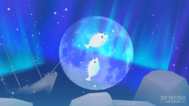 オーロラと月のシャボン玉の中を泳ぐユニコーンタン(アビスリウム - タップで育つ水族館)