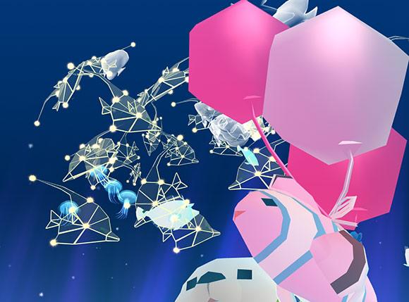 星空ツノダシ、幽霊魚、ツキクラゲ、ユニコーンタンの塊を見上げる、気球クラウン(アビスリウム - タップで育つ水族館)