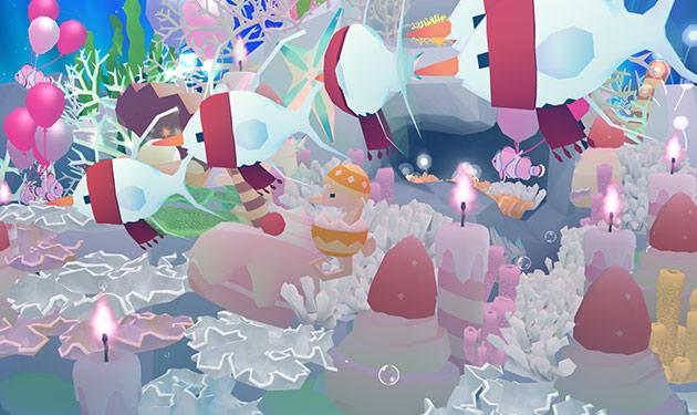 ケーキ染料で飾られたサンゴの上を泳ぐ、スノー・カーディナル、エッグ・シーホース、気球クラウン(アビスリウム - タップで育つ水族館)