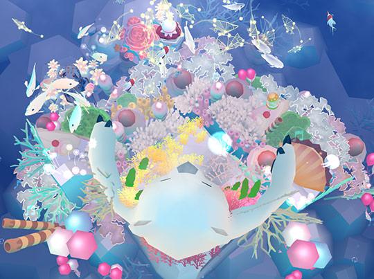 上から見た、ホッキョクグマ帽子とケーキ染料サンゴ(アビスリウム - タップで育つ水族館)