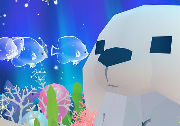 ホッキョクグマ帽子にキスする幽霊魚(アビスリウム - タップで育つ水族館)