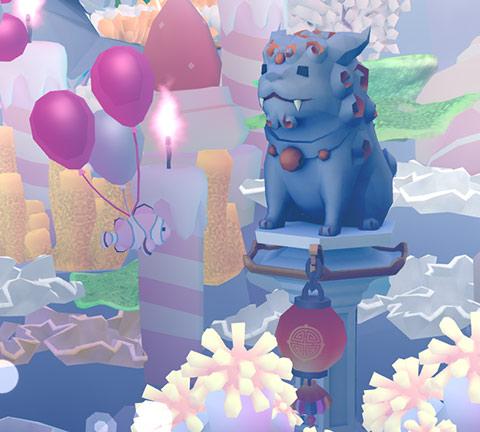 年迎え獬豸石像に近づく、気球クラウン(アビスリウム - タップで育つ水族館)