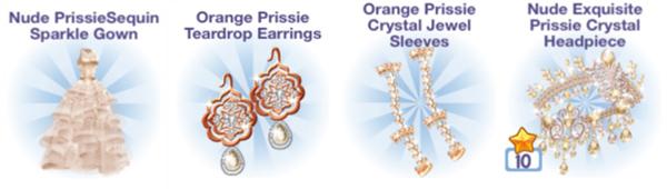4周年記念 Prissie シリーズアイテム:Nude Prissie Sequin Sparkle Gown、Nude Exquisite Prissie Crystal Headpiece、Orange Prissie Teardrop Earrings、Orange Prissie Crystal Jewel Sleeves(Campus Life)