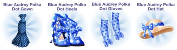 4周年記念 Audreyシリーズ・アイテム:Blue Audrey Polka Dot Gown、Blue Audrey Polka Dot Heels、Blue Audrey Polka Dot Gloves、Blue Audrey Polka Dot Hat(Campus Life)