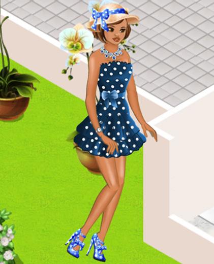 Blue Audrey Polka Dot Hat、Blue Audrey Polka Dot Heels、Blue Polka Dot Dressを着た女の子(Campus Life)