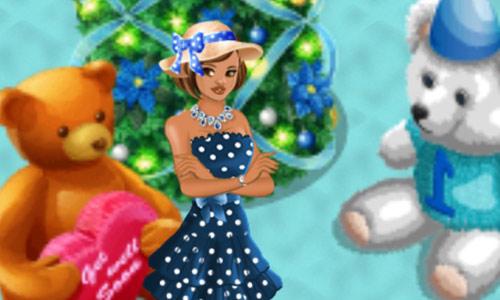 4周年記念ファッション Blue Audrey Polka Dot Hat と、Anniversar Bear、Get Well Soon Teddy、Winter Cheer Holiday Tree(Campus Life)