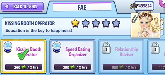 Fae のジョブ画面:Kissing Booth Operator(Campus Life)