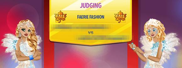 フェアリー・ファッションのワールドイベント投票画面。フェアリーのスペルが FAERIE になっている(Campus Life)