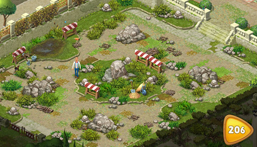 レベル206で解除したての道路沿いの庭エリア〈ガーデンスケイプ(Gardenscapes)〉