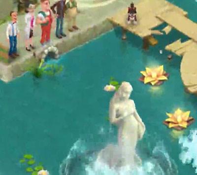 庭の池から現れる石像:ガーデンスケイプ(Gardenscapes)の動画広告より
