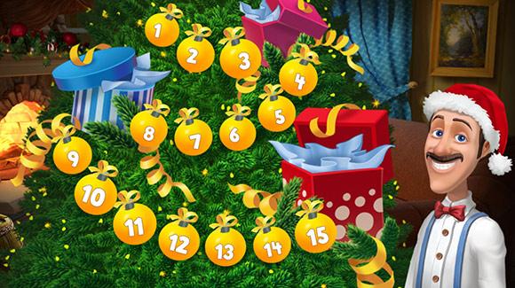 クリスマス特設レベルを全クリアし、ぴかぴか輝くクリスマスツリーと、にっこり笑うオースティン:ガーデンスケイプ(Gardenscapes)