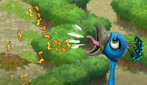 耳障りな大きな鳴き声で、気持ち良さそうに歌うクジャク:ガーデンスケイプ(Gardenscapes)