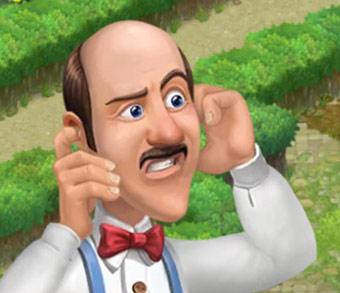 クジャクの歌声のあまりのひどさに、思わず耳をふさいで顔をしかめるオースティン:ガーデンスケイプ(Gardenscapes)