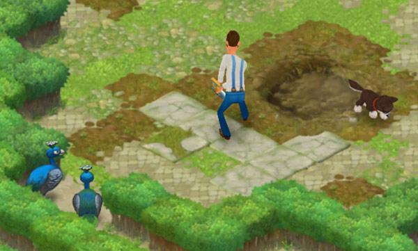 庭の大穴を埋める作業に勤しむオースティンと犬。それを離れて眺めるクジャクたち:ガーデンスケイプ(Gardenscapes)