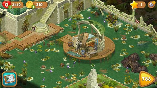 レベル785で到達した、池とあずま屋の庭。手付かずで荒れた状態:ガーデンスケイプ(Gardenscapes)
