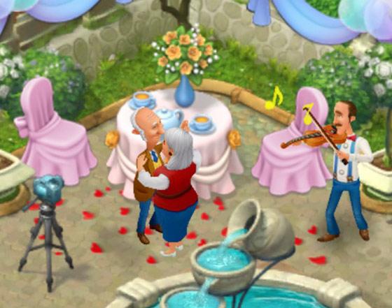 オースティンのバイオリンに合わせてダンスする両親のオリビアとウィリアム:ガーデンスケイプ(Gardenscapes)