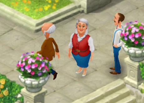 階段の上で両親を見送るオースティン:ガーデンスケイプ(Gardenscapes)