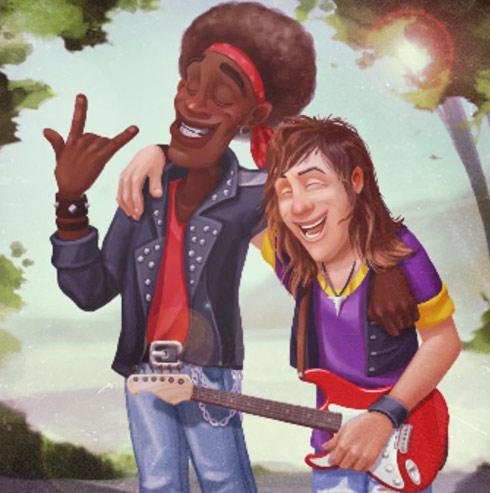 長髪でギターを持ちバンドマン姿のオースティンとロビーの若かりし頃の写真:ガーデンスケイプ(Gardenscapes)