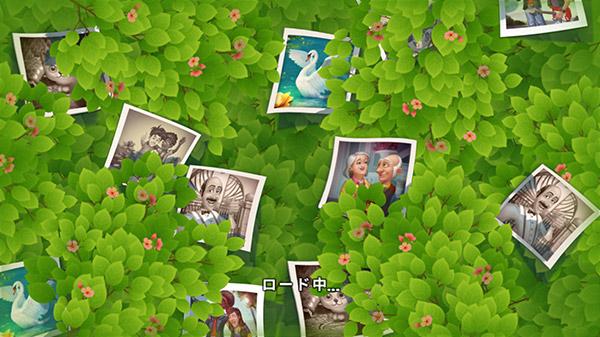 思い出の写真が散りばめられた、小花の咲く茂み。パズルのロード画面:ガーデンスケイプ(Gardenscapes)