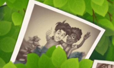 子どものオースティンとロビーが写った古い写真:ガーデンスケイプ(Gardenscapes)