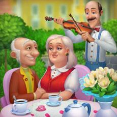 春の物語イベントの記念写真。バイオリンを奏でるオースティンと、うっとり見つめ合う両親のオリビアとウィリアム:ガーデンスケイプ(Gardenscapes)