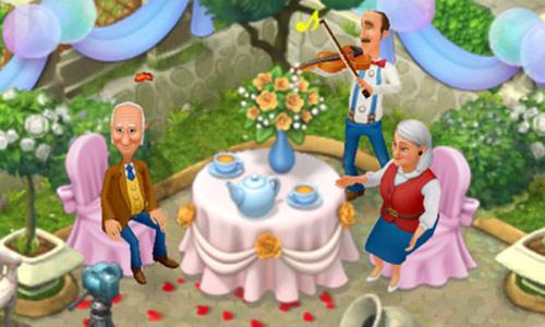 ロマンチックにバルーンや花を飾ったテーブルでお茶を楽しむ両親と、バイオリンを弾くオースティン:ガーデンスケイプ(Gardenscapes)