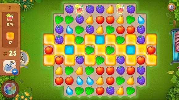 イースターイベント、お菓子の形に見えるはちみつのマッチ3パズル:ガーデンスケイプ(Gardenscapes)