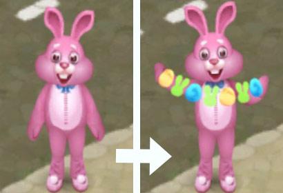 イースターイベントで登場したピンクのウサギ、手品を見せる:ガーデンスケイプ(Gardenscapes)