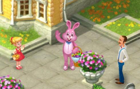カラフルな卵が山盛りになったカゴをもつピンクのウサギ、小さなカゴをもつメアリー、オースティン:ガーデンスケイプ(Gardenscapes)
