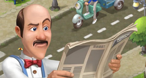 難しい顔で新聞を読むオースティン:ガーデンスケイプ(Gardenscapes)