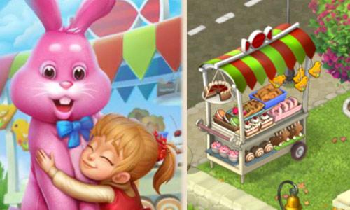 ピンクのイースターバニーに抱きつくメアリーと、お菓子いっぱいの移動式スナックバー:ガーデンスケイプ(Gardenscapes)