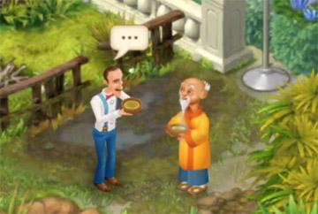 ハーブティーを飲むオースティンとマスター・アキラ:ガーデンスケイプ(Gardenscapes)