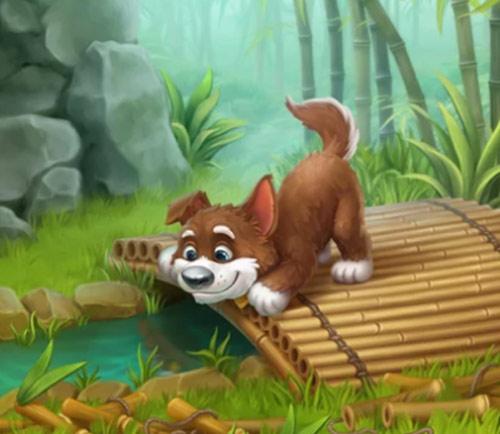 竹の橋から面白そうに水面を眺める犬:ガーデンスケイプ(Gardenscapes)