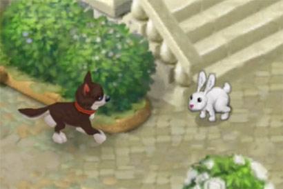 ばったり出会う犬とうさぎ:ガーデンスケイプ(Gardenscapes)