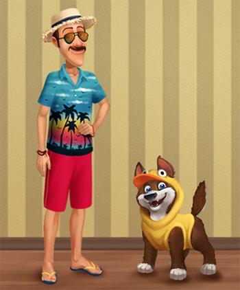 夏服のオースティンと、ひよこ服の犬:Dress Austin!