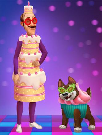 バースデーケーキ姿のオースティンと、カップケーキ姿の犬:Dress Austin!