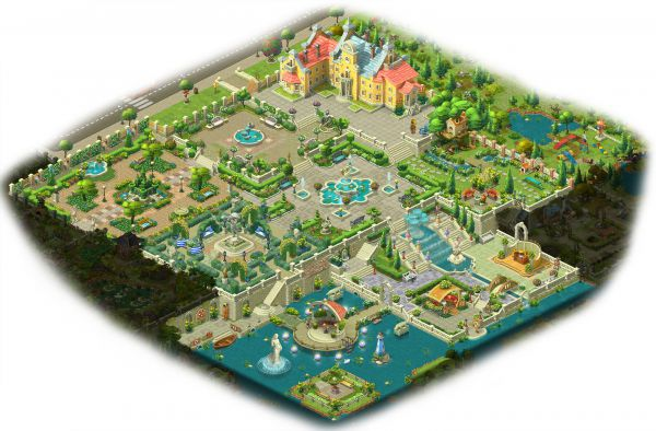 エリア1〜7まで完成した庭全体図:ガーデンスケイプ(Gardenscapes)