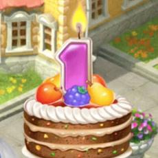 1周年お祝いケーキ:ガーデンスケイプ(Gardenscapes)