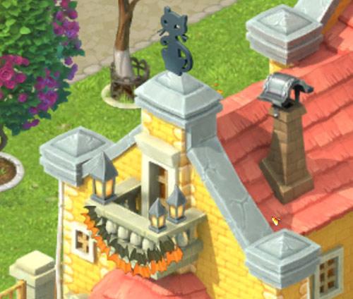 バルコニーに飾られたコウモリのバナー、屋根に飾られたネコのオーナメント:ガーデンスケイプ(Gardenscapes)