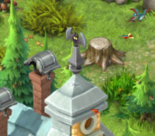 屋根に飾られたコウモリのオーナメント。その背景にある空き地でくつろぐ蝶や鳥のカップルたち:ガーデンスケイプ(Gardenscapes)