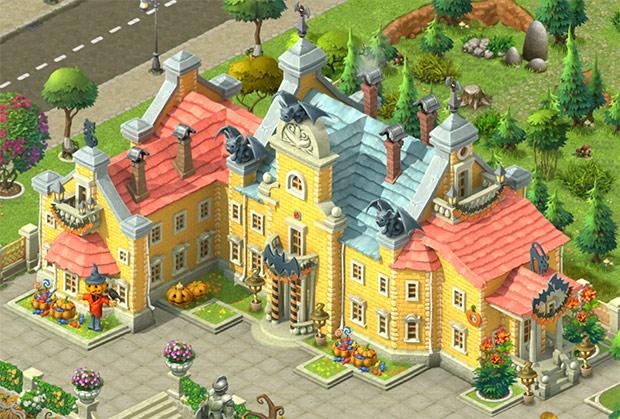 ハロウィン装飾をしたお屋敷の外観:ガーデンスケイプ(Gardenscapes)