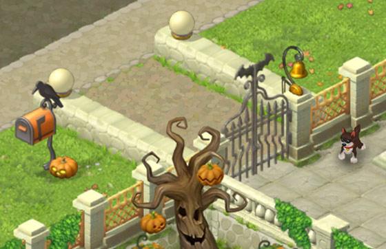 ハロウィン装飾をした門のあたり:ガーデンスケイプ(Gardenscapes)