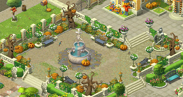 ハロウィン装飾をした噴水の小庭:ガーデンスケイプ(Gardenscapes)