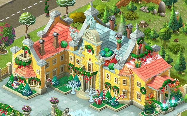 クリスマス装飾したお屋敷全体、完成図:ガーデンスケイプ(Gardenscapes)