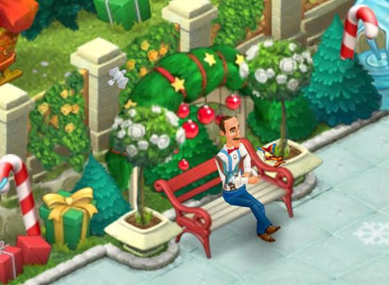 クリスマスコレクション「エルフのベンチ」:ガーデンスケイプ(Gardenscapes)