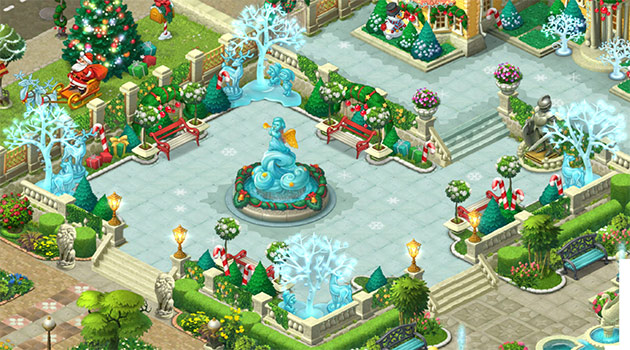 クリスマス装飾したエリア1のお庭、完成図:ガーデンスケイプ(Gardenscapes)